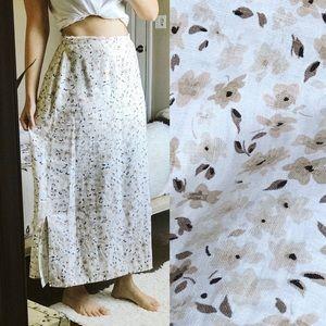 Vintage 90s Floral Linen Prairie Maxi Skirt